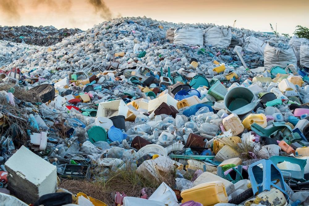 Plastic waste in landfill