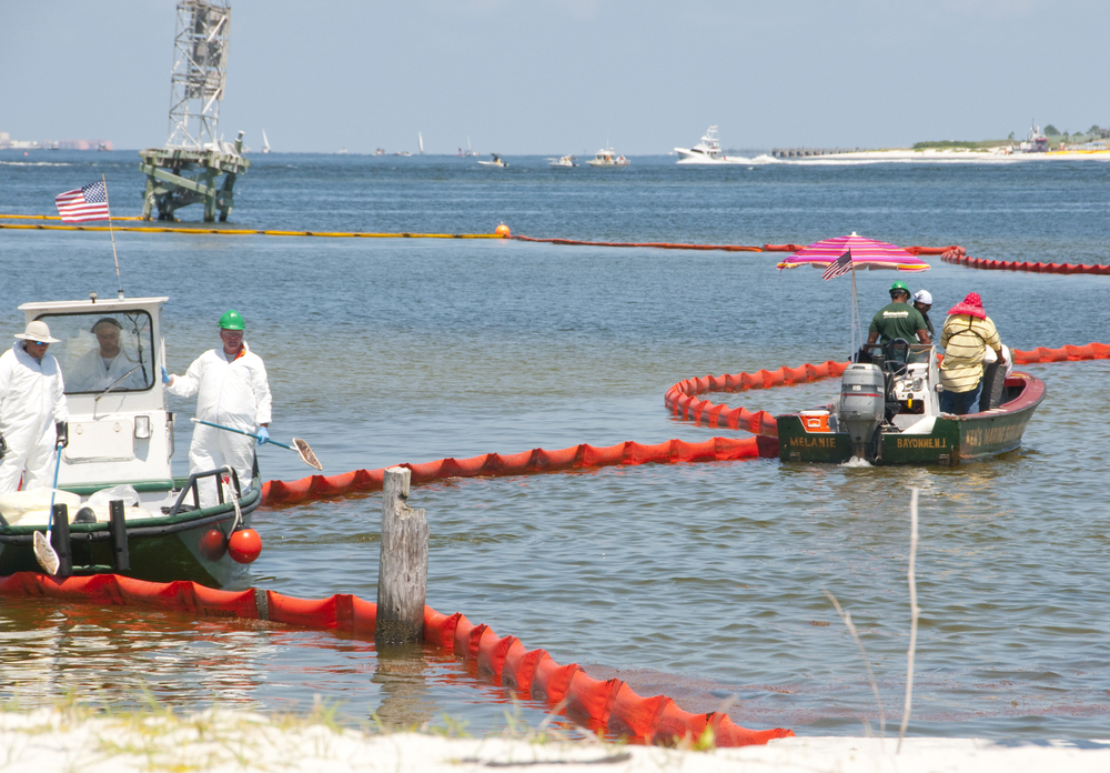oil spill cleanup in progress