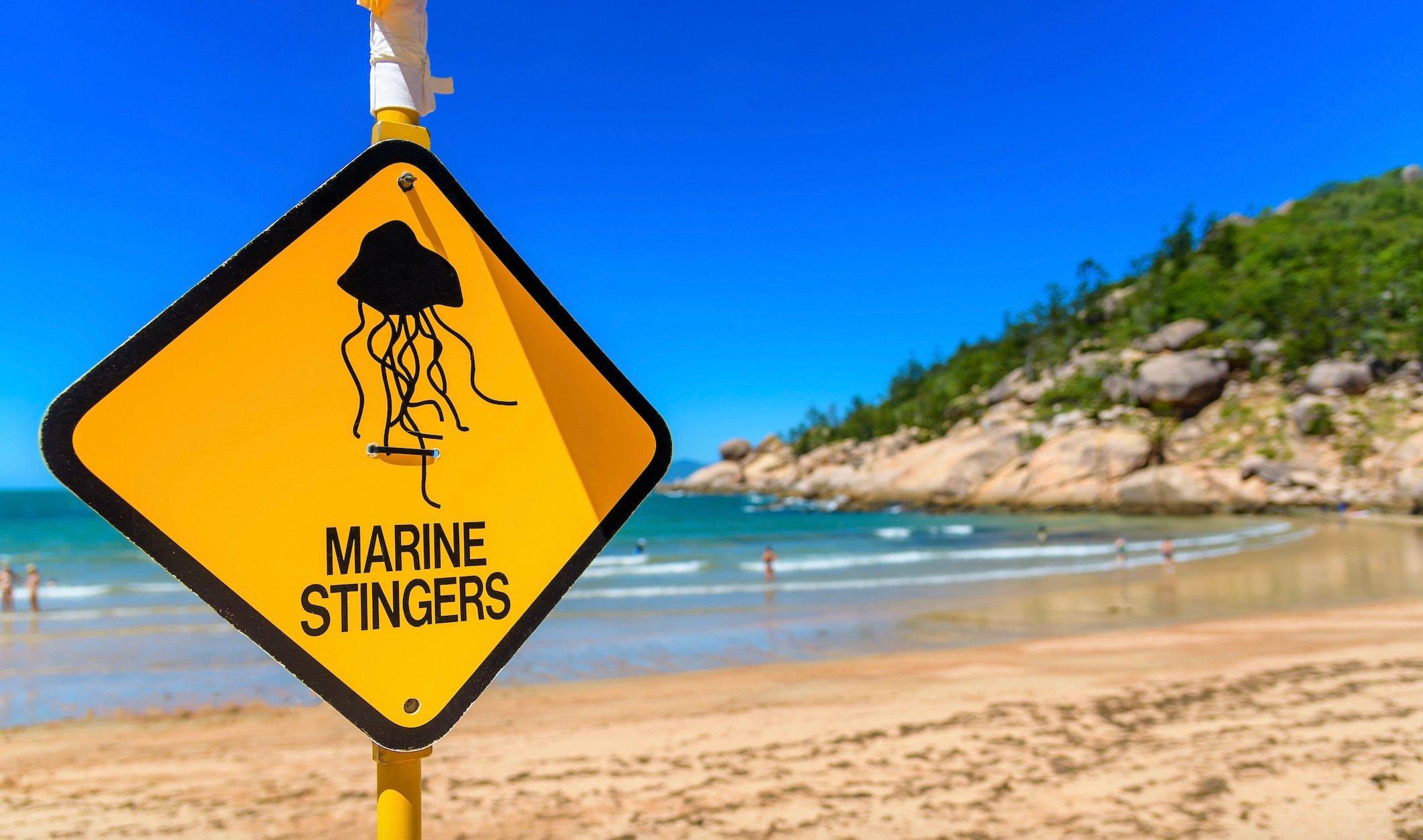 marine stingers beach sign