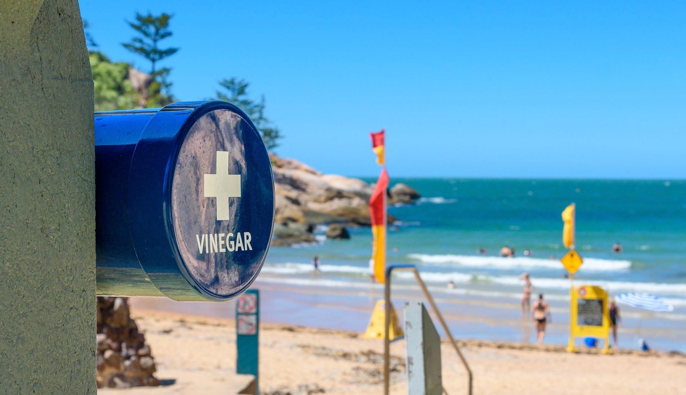 vinegar station on beach