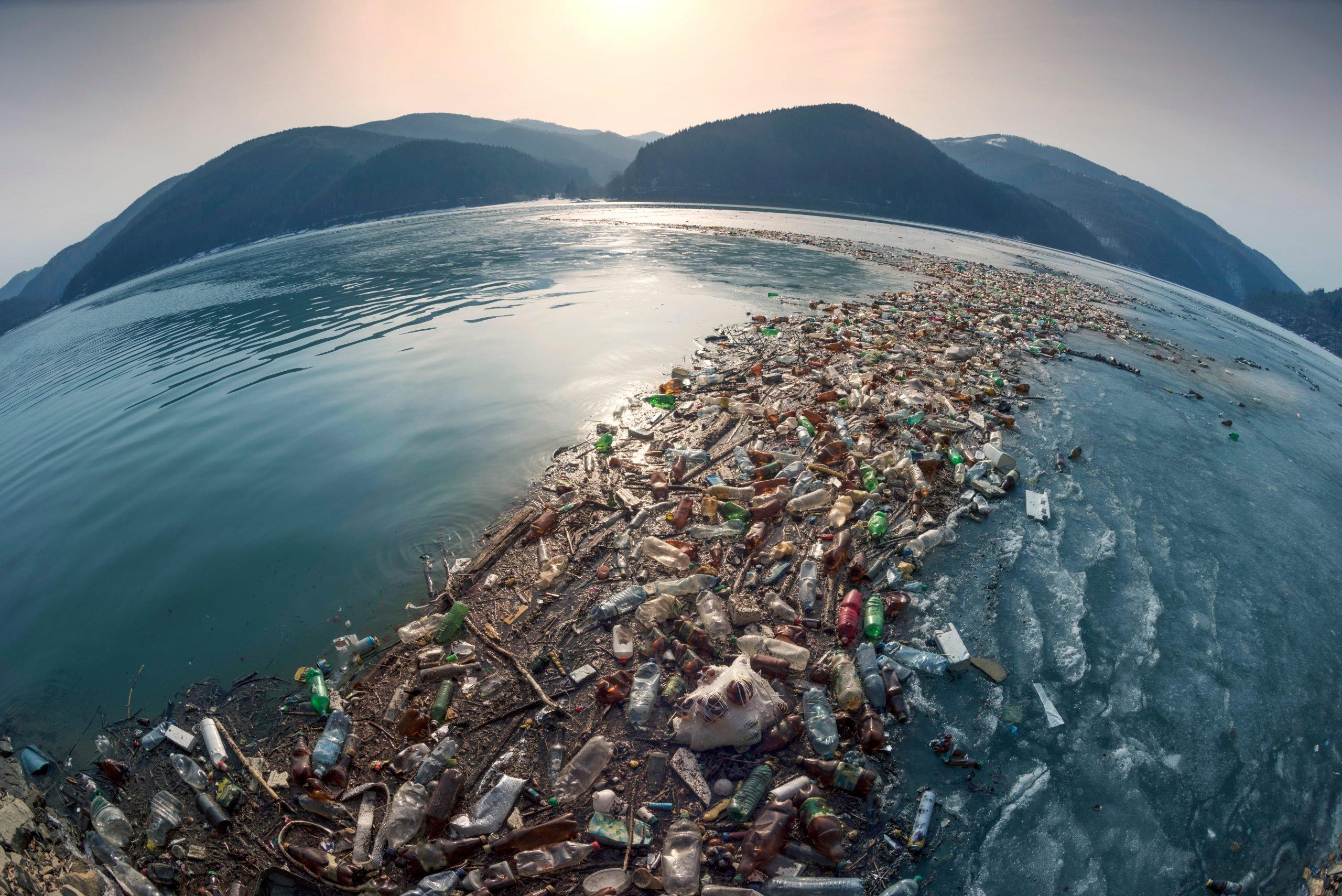 plastic trail in ocean