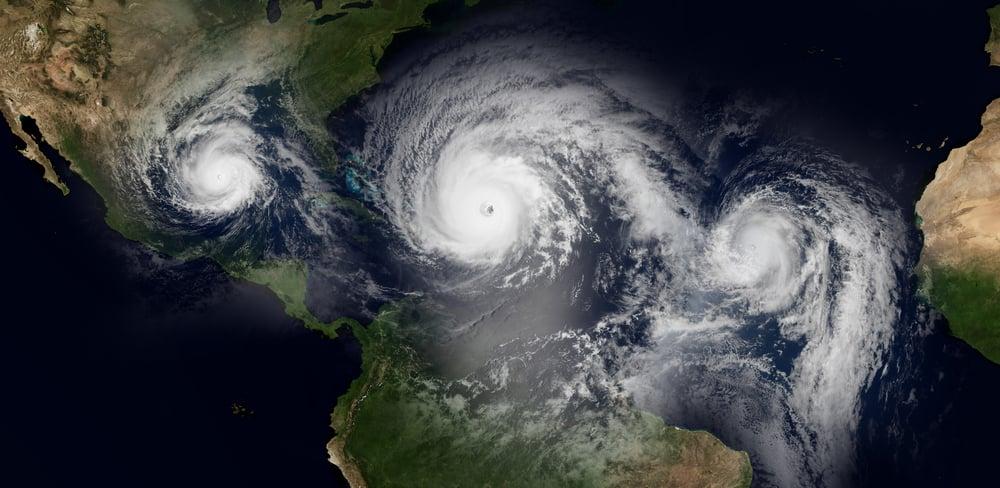 Three hurricanes approach land