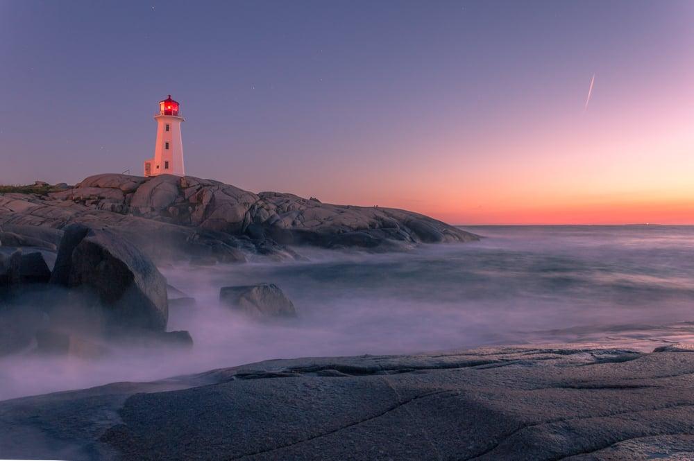 lighthouse on the coast of the atlantic ocean