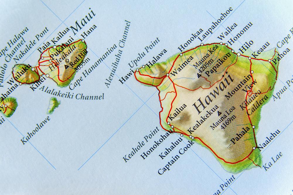 Geographic map of Hawaiian islands