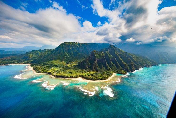 Distant photo of Na Pali Coast, Kauai