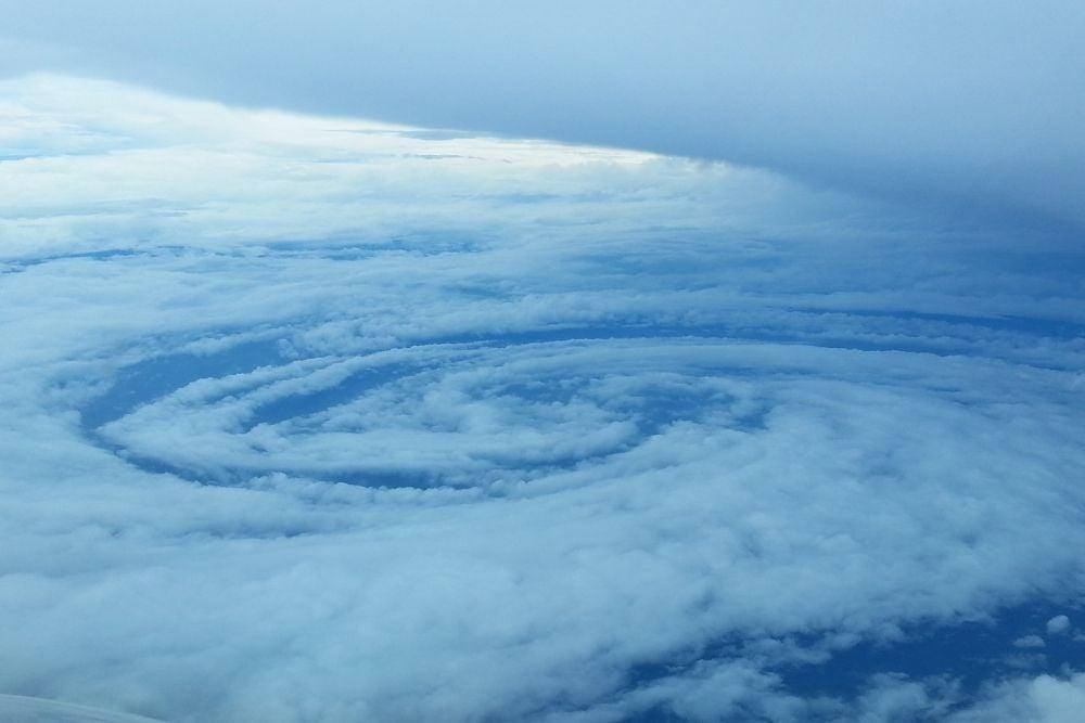 hurricane forming over an ocean
