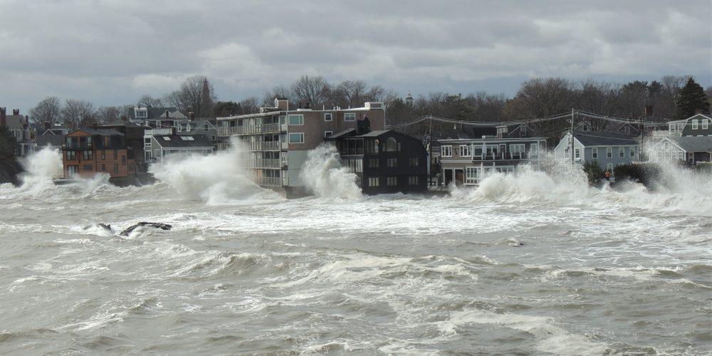 storm surge along the coastline